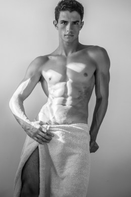 Nick Canto wearing towel